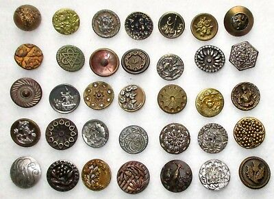 Lot #2-  35 Antique Victorian Metal Buttons