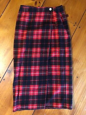 VTG 80s GAP Recycled Wool Blanket Stitch Red PLAID Long Wrap Skirt Classic Sz 12