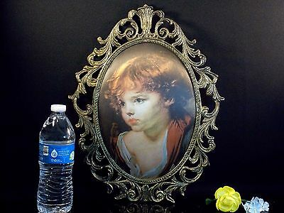 """Little Girl Cast iron Oval picture frame Wall Decor Art 15"""" x 12"""""""