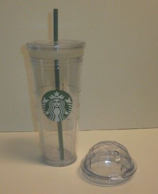 Starbucks Venti Clear Double Wall Acrylic Cold Cup Tumbler 24 oz W/ Dome & Flat