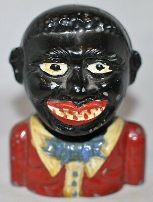 """Cast Aluminum """"Young Negro"""" Still Bank Made in England Rated """"2"""" Moore #172"""