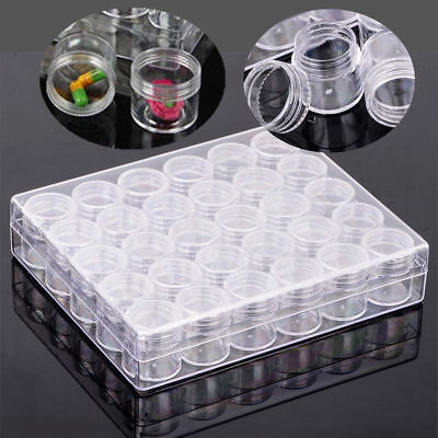 1xClear Container Jars Bead Storage Rectangle Round Plastic 30 Case Durable Box