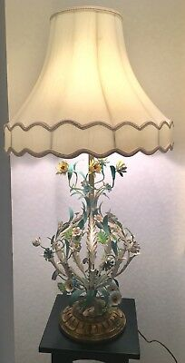Vintage Tole Flower Lamp Shabby Chic
