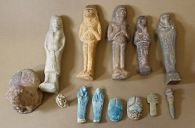 REPRO Ancient Egyptian Ushabti Scarab Bes Amulet LOT