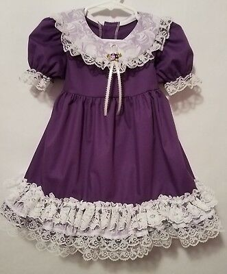 Vintage Style Baby Girl Dress Purple White Lacey Ruffle SZ 2T