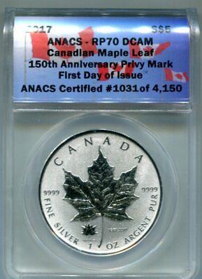 ANACS-RP70 DCAM 2017 REV. PROOF Canada $5 Silver 150th ANNIV. PRIVY -Day 1 Issue