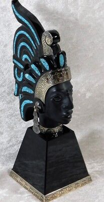 Vtg Fine Taxco Art Aztec Warrior Sterling Silver Turquoise Obsidian Mask Statue