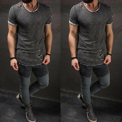 Men's Ripped Tee Shirt Slim Fit O Neck Short Sleeve Muscle Casual Tops T Shirts