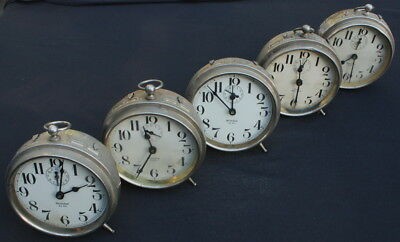 Lot Of Big Ben Alarm Clocks (5), Style 1, All With Issues, For Repair Or Parts