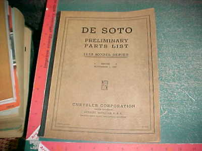 1938 Desoto Illustrated Body & Chassis Prelim Parts & Accessories Numbered List