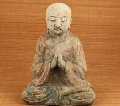 Antique old chinese Boxwood buddha statue feng shui blessing home decoration