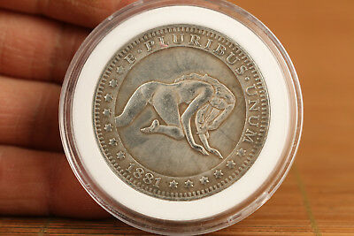 Art old tibet silver copper Belle girl sexy collection Valuable Coin +gift  box