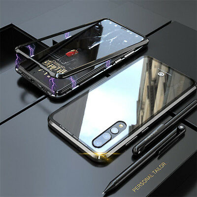 Magnetic Adsorption Metal Frame Tempered Glass Case Cover For Huawei Honor 10 Y9