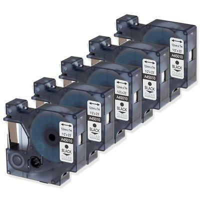 45010 S0720500 Compatible for DYMO D1 Black on Clear 12mm Label Tape 5PK