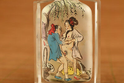 Rare chinese old galss hand painting art girl ancient snuff bottle collectable