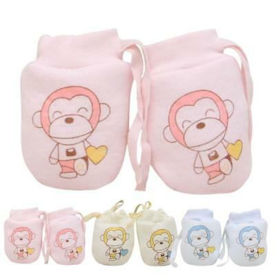 2 Pairs Cute Cartoon Baby Infant Boy Girls Anti-Scratch Mittens Soft Gloves Gift
