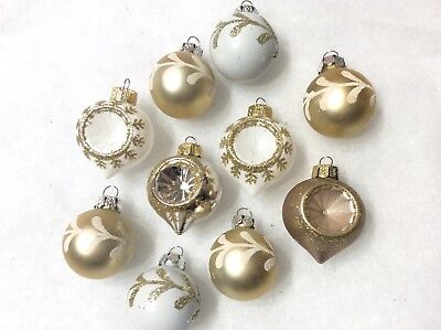 FEATHER TREE Christmas Ornaments Gold White Indent Shatterproof