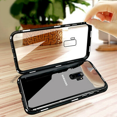 Metal Frame Magnetic Adsorption Tempered Glass Case Cover For Samsung S8 S9+ J6