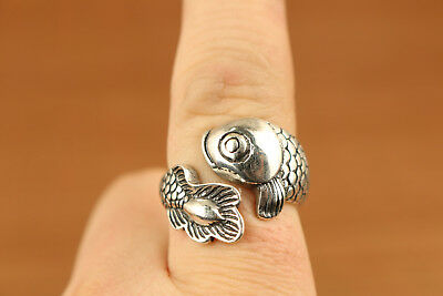 Rare Chinese 100% Handmade Carving fish Ring Mother girl friend gift
