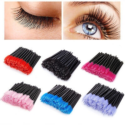 100PCS Disposable Eyelash Brush Mascara Wands Applicator Spoolers Makeup Mini AU