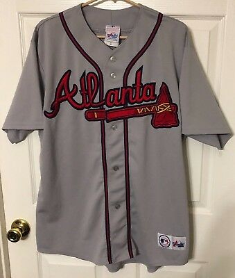 Vintage Majestic MLB Baseball Gray Jersey Atlanta Braves No Name No Number XL