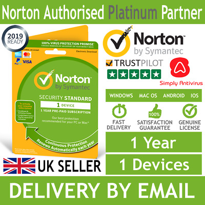 NEW VERSION  Norton Security Standard 2019 1 Device 1 Year *5 Min Email Delivery