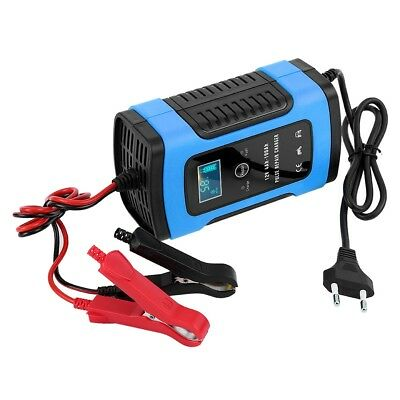 12V 6A Car Motorcycle Smart Fast Lead-acid Battery Charger LCD Display EU Plug