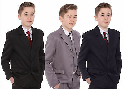 Boys Suits 5 Piece Wedding Suit Prom Page Boy Baby Formal Party 3 Colours & Ties