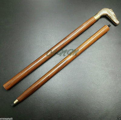 Antique Brass Hours Handle Wooden Walking Stick Cane Men Accessories Collectible