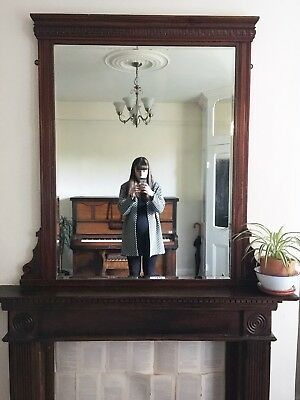 Tall & Wide Carved Wood, Antique Very Large, Original Over Mantle Mirror Or Wall