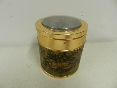 Vintage Copper Clad  Beauty Powder Can with Compass Top and Old World Map