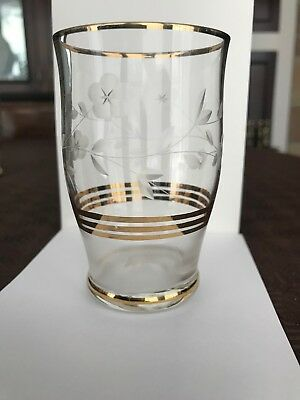 Antique glass set (6 off), etched with gold rings