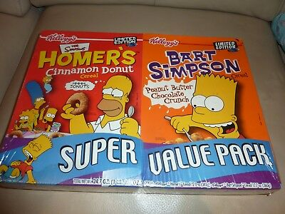 THE SIMPSONS LIMITED EDITION 2001 KELLOGG`S CEREAL BOXES x 2 - VGC UNOPENED
