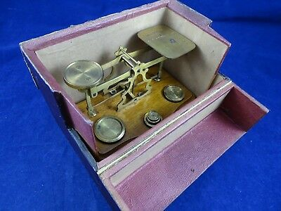 Antique Victorian Brass Postal Balance in Fitted Case, All Original Weights