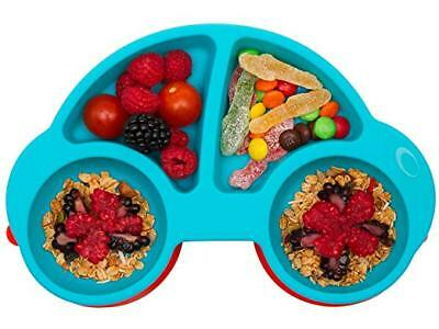 Toddler Plates Portable Baby BPA-Free FDA Approved Strong Suction Silicone Blue