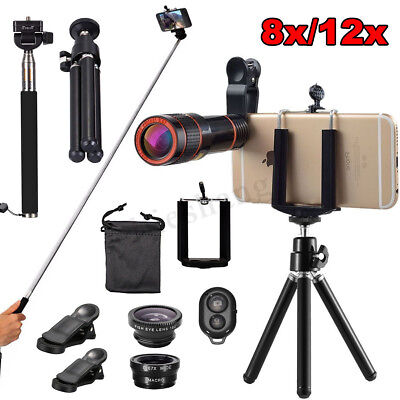 8x/12x All in 1 Accessories Mobile Smart Phone Camera Lens Top Travel Selfie Kit
