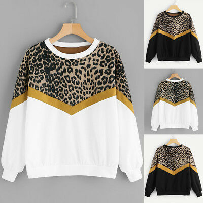 Fashion Womens Casual Long Sleeve Patchwork Leopard Print O-Neck Tops Sweatshirt