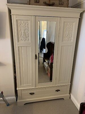 Beautiful Solid Antique Early 1900's Gentlemans Wardrobe Single Door With Mirror