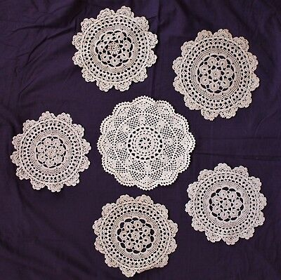 Lot of 6 Vintage Crocheted Cotton Circular  Doilies - Beige 18-21cms