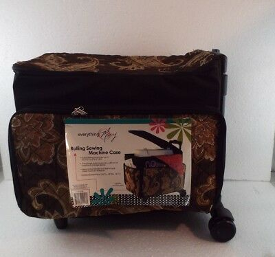 Rolling Sewing Machine Tote Everything Mary Gold Brown Paisley