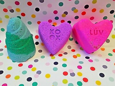 Valentines day bath bomb fizz gift set lush snow fairy fluffy pink candy  💚💚