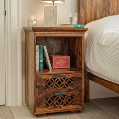 Wood Bed Side End Table for Living Room  with 2 Drawer Natural Honey Finish Look