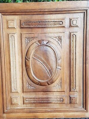 PAIR 2 Antique French door panel cabinet wood carved gothic nouveau salvage