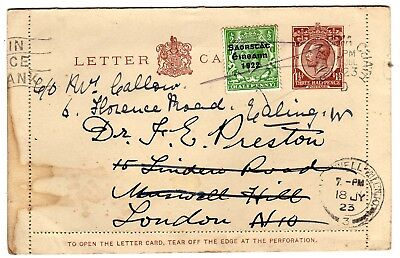 IRELAND 1923 GB STATIONERY LETTERCARD, DUBLIN TO LONDON, UPRATED WITH ½d OPT.