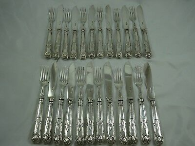 STUNNING set x 24 `KINGS` pattern solid silver FISH CUTLERY, 1897