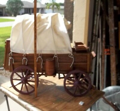 Primitive Big Scale Wooden Old Hand Made Western Cowboy Chuck Wagon Model