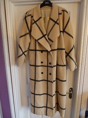 Vintage Cojana England Long Wool Coat Ladies Size L Uk 16
