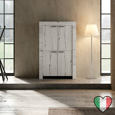 Credenza in Rovere Bianco 4 ante - Land - Made in Italy