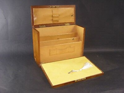 Antique Oak Stationery Box Working Lock & Key c1890 Fall Front With Dividers Etc