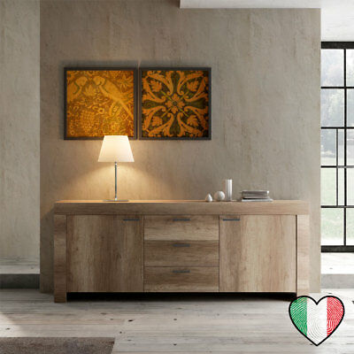Credenza Buffet in Rovere 2 ante 3 cassetti - Land - Made in Italy